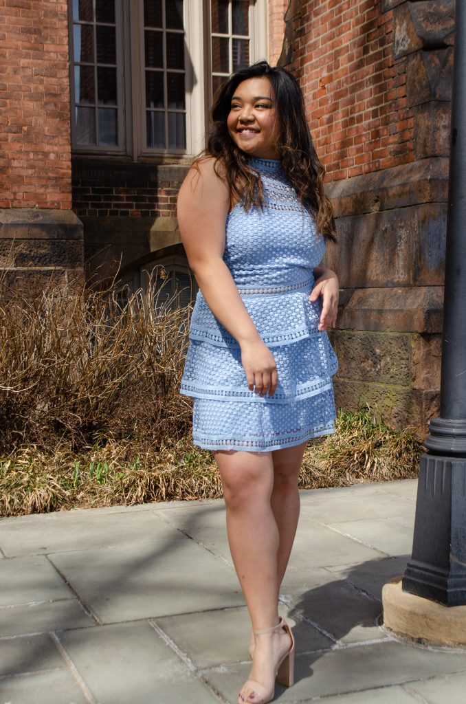 pretty little thing, dusty blue dress, nude heels, graduation shop