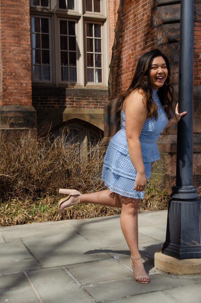 pretty little thing, dusty blue dress, nude heels, girl laughing, graduation shop
