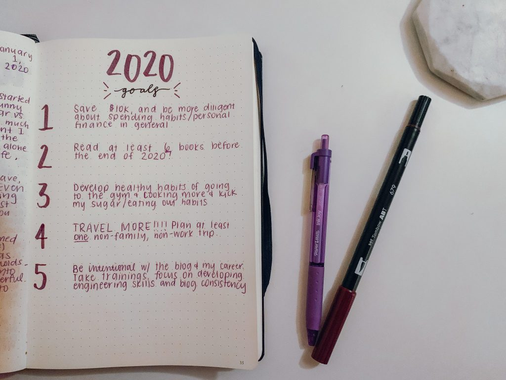 Intentions and goals set for 2021. A journal with a list of goals, next to two pens
